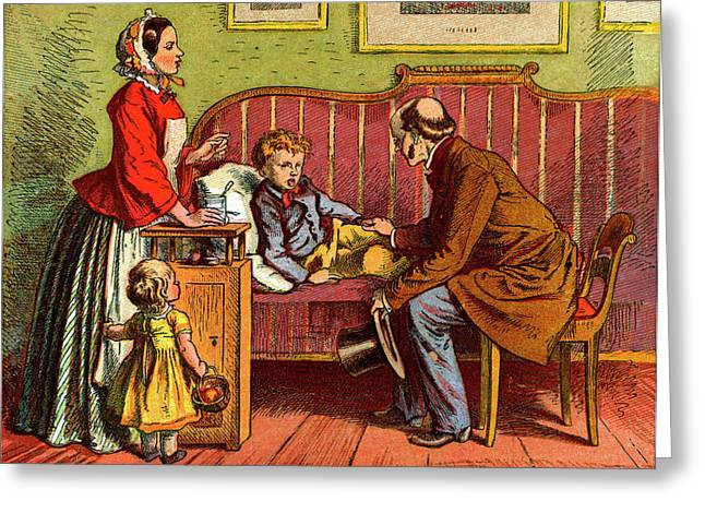 Sick Child Visited By The Doctor Greeting Card by Universal History Archive/uig