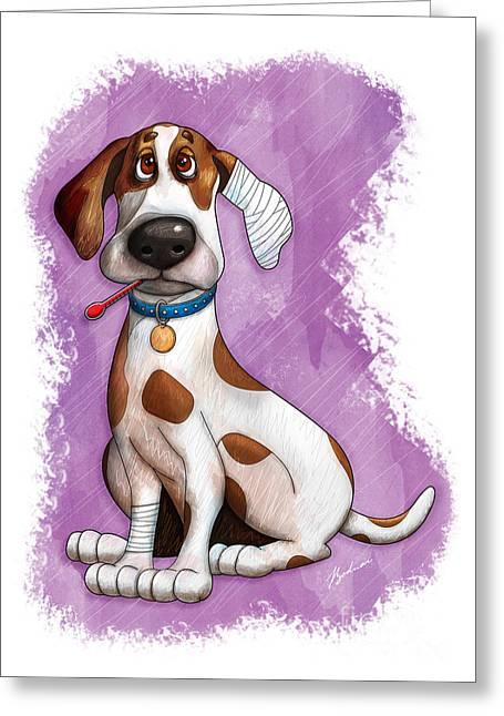 Sick Puppy Greeting Card by Gary Bodnar