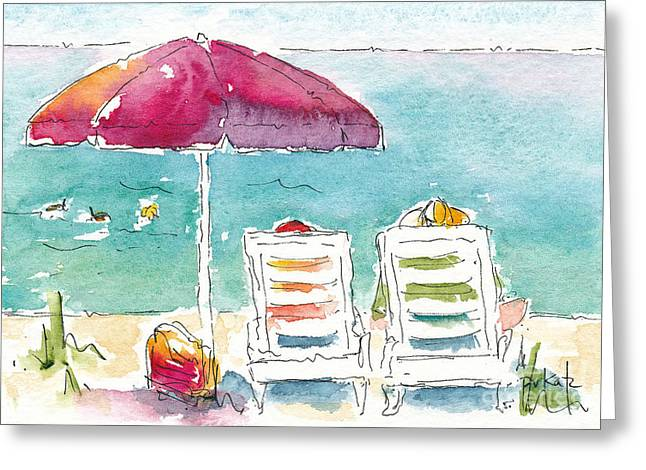 Side By Side At The Sea Greeting Card by Pat Katz