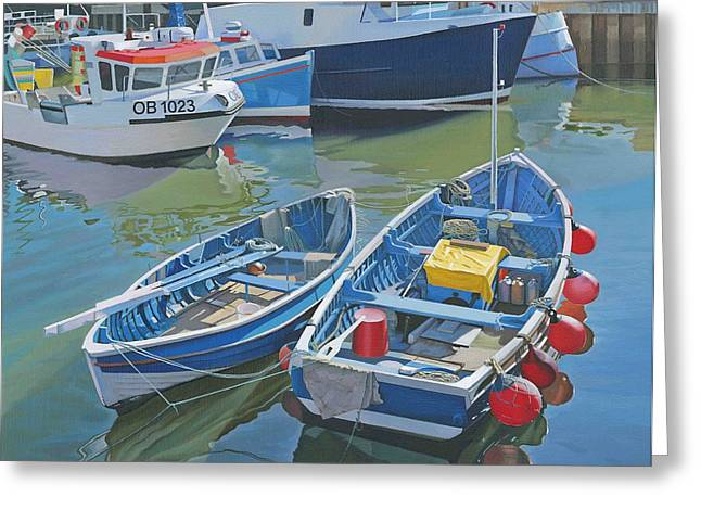 Side By Side In Whitby Harbour Greeting Card by Graham Clark