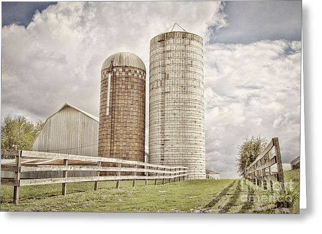 Side By Silo Greeting Card
