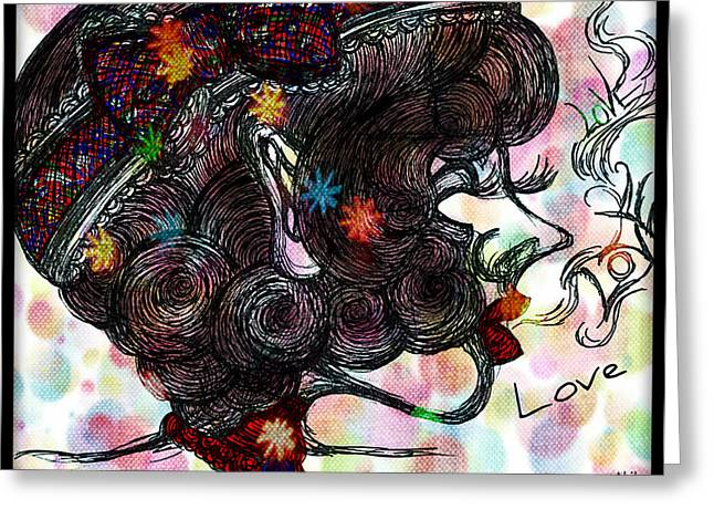 Side Face Lady Greeting Card by Akiko Okabe