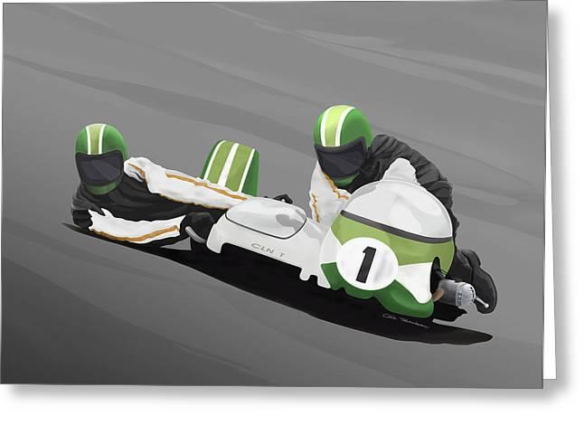 Sidecar Racer Greeting Card by MOTORVATE STUDIO Colin Tresadern