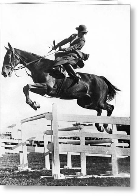 Sidesaddle Jumps At Horse Show Greeting Card by Underwood Archives
