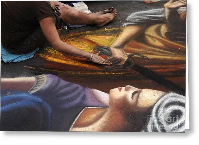 Sidewalk Art 3 Greeting Card by Bob Christopher