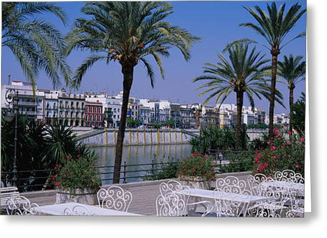 Sidewalk Cafe At The Riverside Greeting Card by Panoramic Images