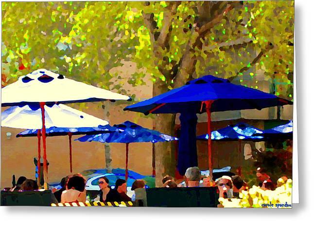 Sidewalk Cafe Blue Bistro Umbrellas Downtown Oasis Terrace Montreal City Scene Carole Spandau Greeting Card by Carole Spandau