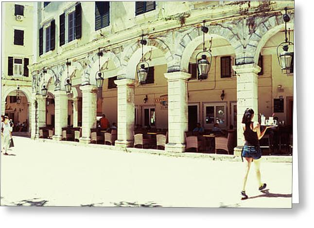Sidewalk Cafe In A City, Corfu, Ionian Greeting Card by Panoramic Images