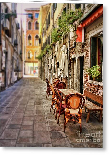 Sidewalk Cafe In Venice Greeting Card by Sylvia Cook