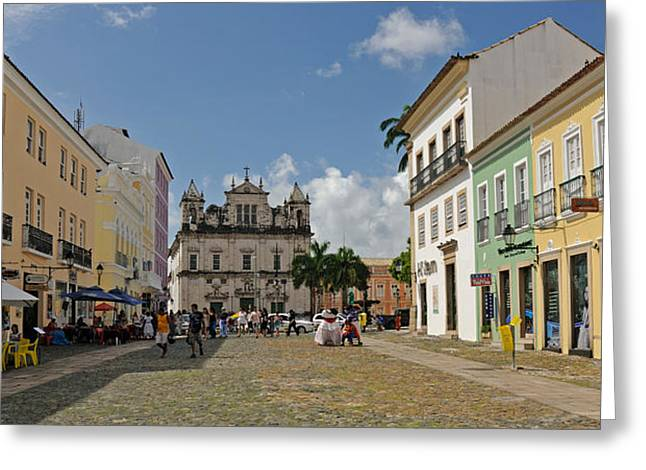 Sidewalk Cafes On A Street Greeting Card by Panoramic Images