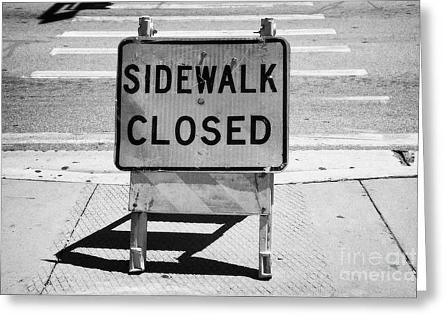Sidewalk Closed Sign At Road Pedestrian Crossing Miami South Beach Florida Usa Greeting Card