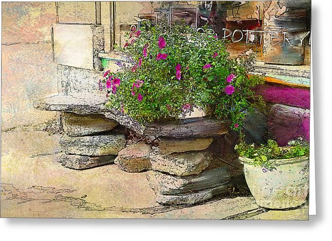 Sidewalk Flowers Shelburne Falls Ma Greeting Card