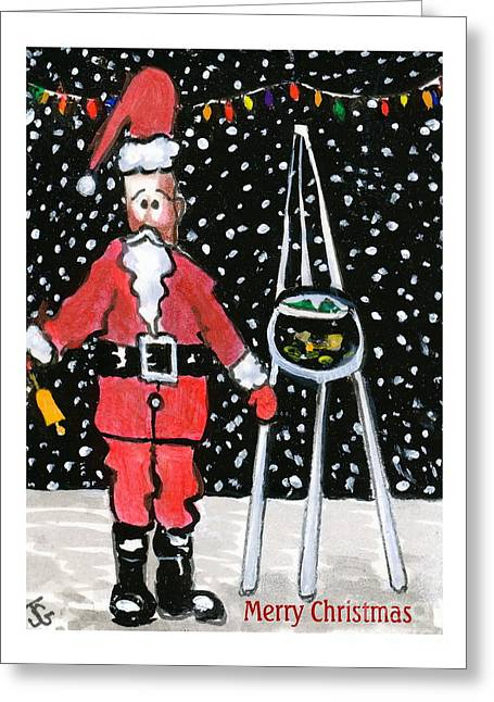 Sidewalk Santa.card Greeting Card