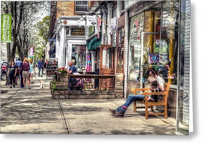 Sidewalk Scene - Great Barrington Greeting Card