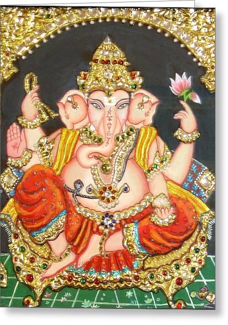 Sidha Ganapathi Greeting Card by Jayashree