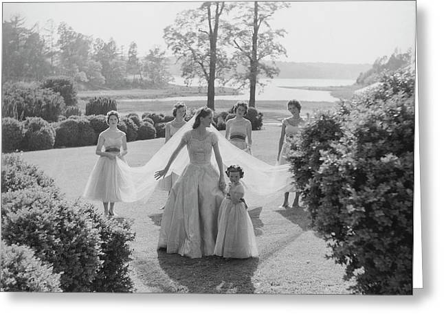 Sidney Bacon In Garden With Her Bridesmaids Greeting Card by Horst P. Horst