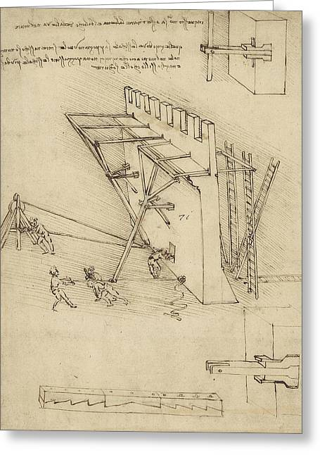 Siege Machine In Defense Of Fortification With Details Of Machine From Atlantic Codex Greeting Card by Leonardo Da Vinci