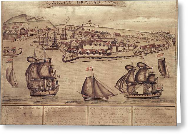 Siege Of Curacao Greeting Card by Library Of Congress, Geography And Map Division