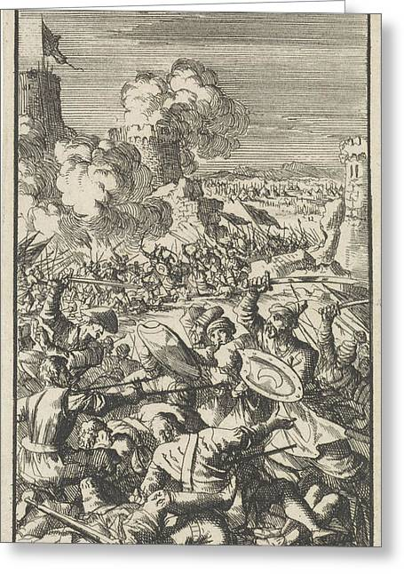 Siege Of Nicosia By The Ottoman Army, 1570 Greeting Card by Jan Luyken