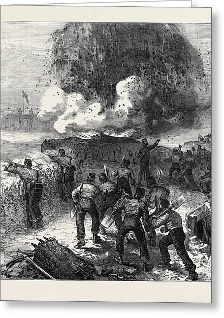 Siege Operations At Chatham Explosion Of A Mine 1871 Greeting Card