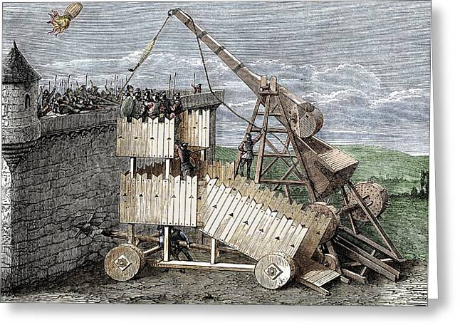 Siege With Trebuchet And Greek Fire Greeting Card by Sheila Terry