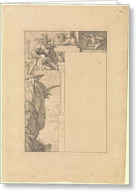 Siegfried Battles With The Gatekeeper As Alberich Greeting Card by Litz Collection