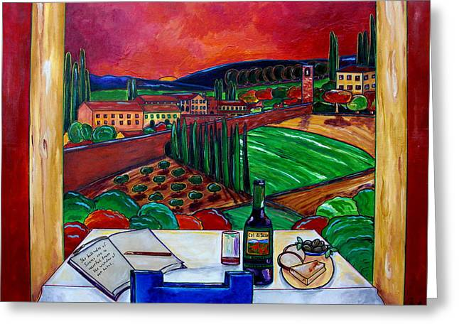 Siena Hillside Greeting Card by Patti Schermerhorn