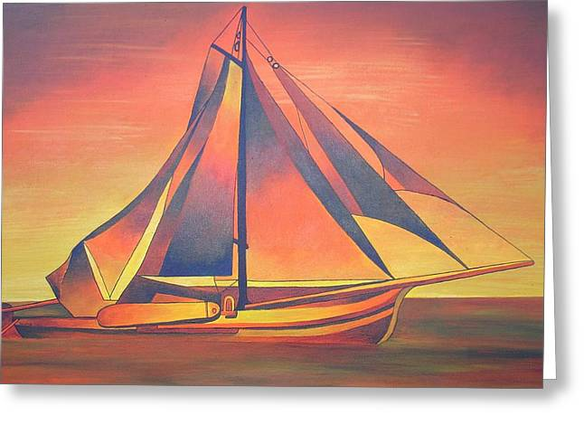 Greeting Card featuring the painting Sienna Sails At Sunset by Tracey Harrington-Simpson