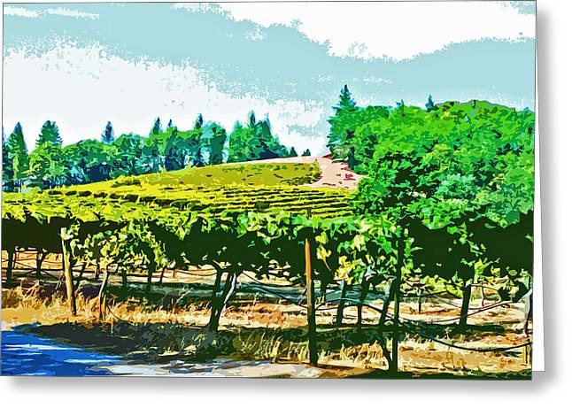 Sierra Foothills Vineyard Greeting Card by Charlette Miller