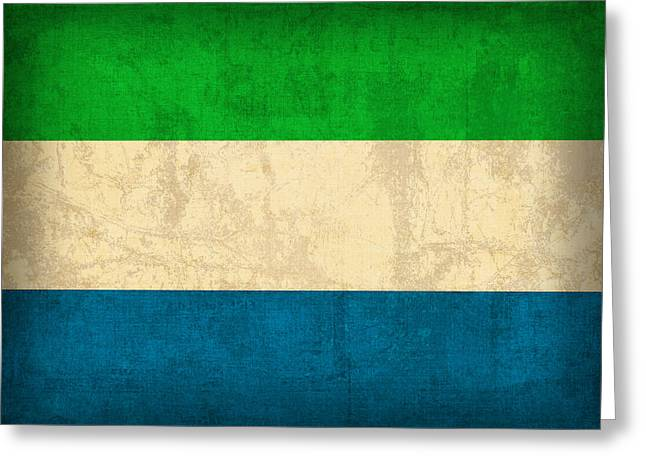 Sierra Leone Flag Vintage Distressed Finish Greeting Card by Design Turnpike