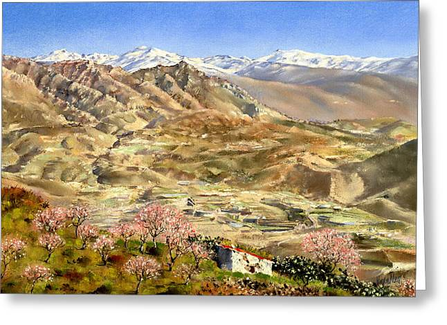 Sierra Nevada With Almond Blossom Greeting Card by Margaret Merry