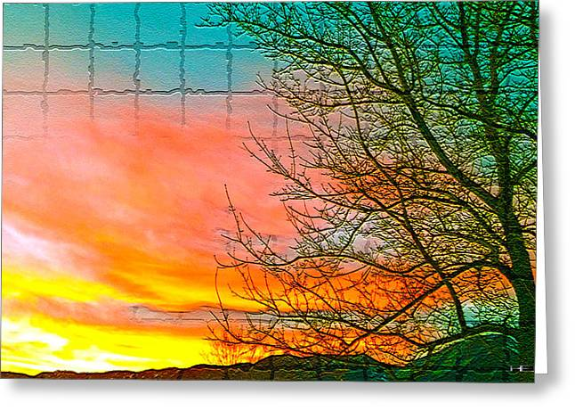 Sierra Sunset Cubed Greeting Card by Mayhem Mediums