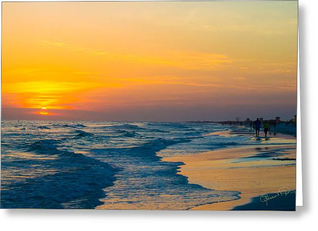 Siesta Key Sunset Walk Greeting Card