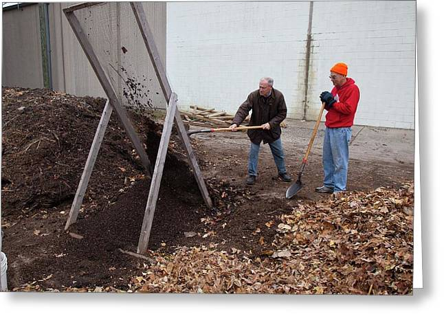 Sifting Compost Through A Screen Greeting Card by Jim West