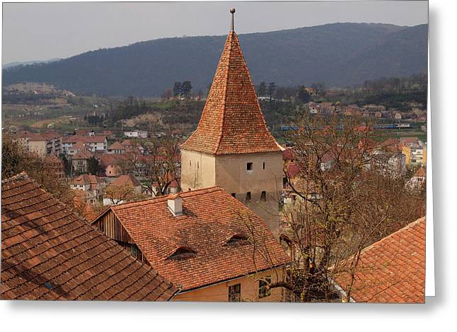 Sighisoara From The Rooftop  Greeting Card