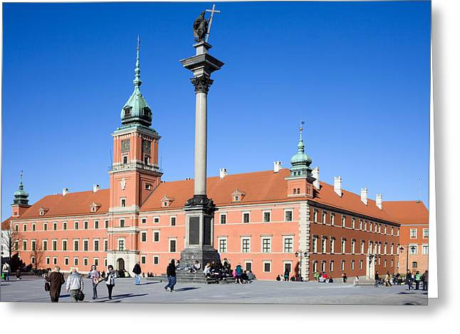 Sigismund's Column And Royal Castle In Warsaw Greeting Card by Artur Bogacki
