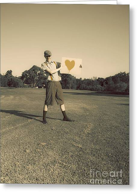 Sign Of An Antique Golfer Greeting Card by Jorgo Photography - Wall Art Gallery