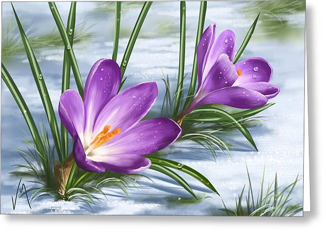 Sign Of Spring Greeting Card by Veronica Minozzi
