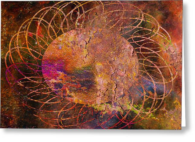 Greeting Card featuring the digital art Sign Of The Times - Abstract by J Larry Walker