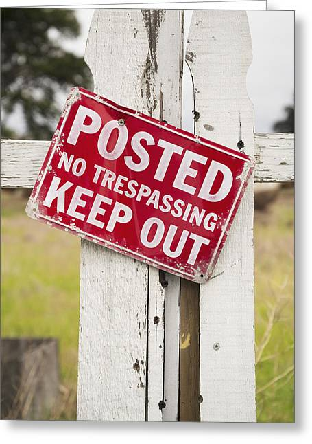 Sign On An Old White Picket Fence Greeting Card by Harry M. Walker