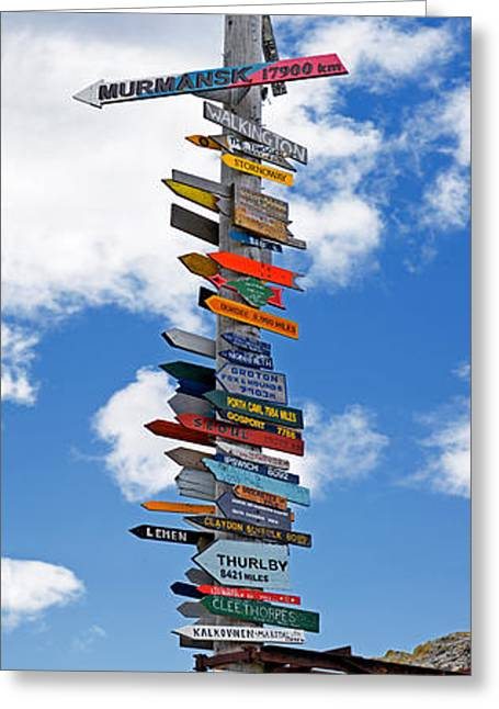 Sign Post Showing Distances To Various Greeting Card by Panoramic Images