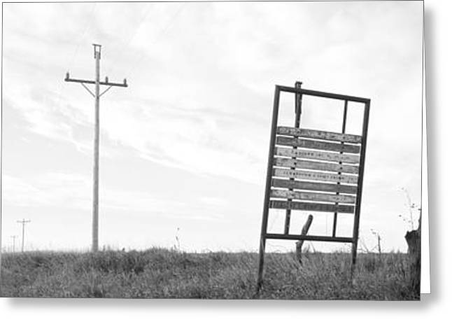 Signboard In The Field, Manhattan Greeting Card by Panoramic Images