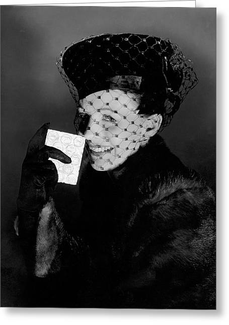 Signe Hasso Wearing A Veiled Hat Greeting Card by Horst P. Horst