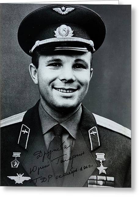 Signed Photo Of Yuri Gagarin Greeting Card