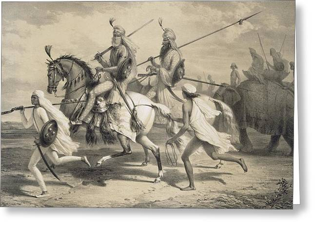 Sikh Chieftans Going Hunting Greeting Card by A Soltykoff