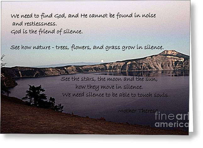 Silence - Mother Theresa Greeting Card by Sharon Elliott