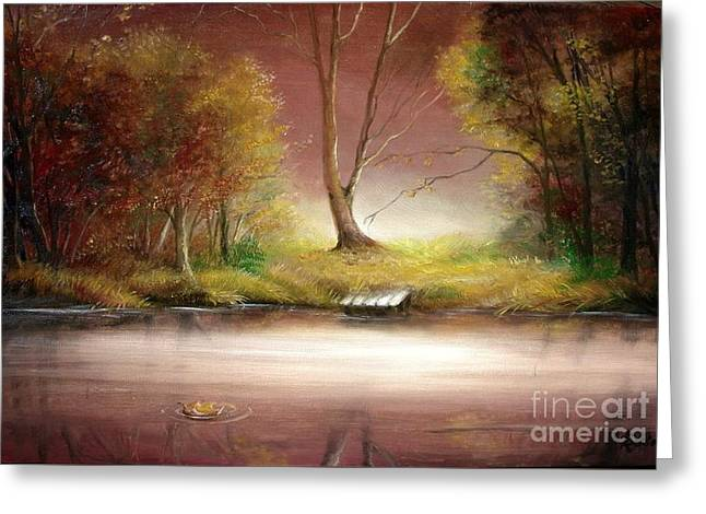 Greeting Card featuring the painting Silence by Sorin Apostolescu