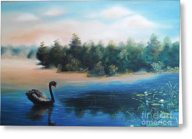 Greeting Card featuring the painting Silence by Vesna Martinjak