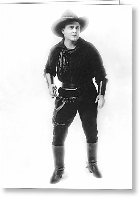 Silent Movie Cowboy Greeting Card by Underwood Archives