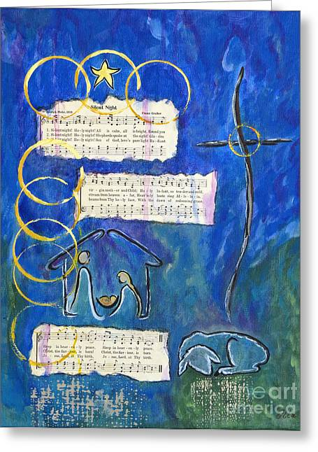 Silent Night A Holy Night - Original Painting By Ella Greeting Card by Ella Kaye Dickey